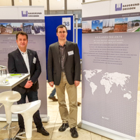 Our general managers (f.l.t.r. Dipl.-Ing. Steffen Tost, Dr.-Ing. Lutz Vogt) at the IKOM Bau 2018